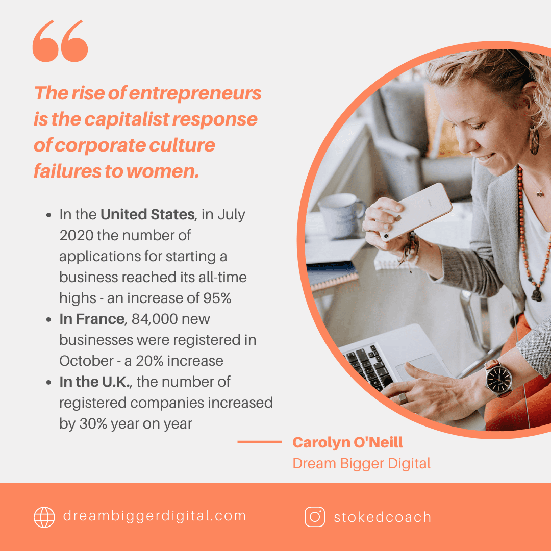 The rise of entrepreneurs is the capitalist response of corporate culture failures to women. Especially for women.